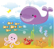 Sea/ocean life - underwater. A bunch of happy sea animals underwater Royalty Free Stock Photography