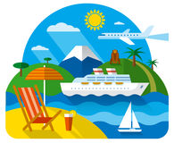 Sea and ocean resort. Tropical travel concept flat illustration, sea and ocean resort, cruise and journey Stock Image