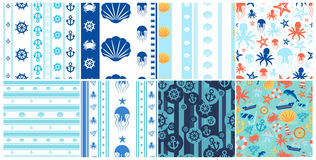 Sea And Ocean Seamless Patterns Set Stock Photography