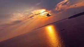 Sea ocean sunset orange Royalty Free Stock Photo