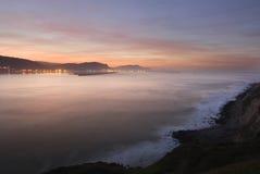 Sea ocean sunset Shore. Calm image of the rocks in the sea shore Stock Photo