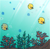 Sea or ocean underwater coral reef. With yellow tropical fishes. Deep Sea. Vector Illustration Stock Images