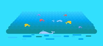 Sea or Ocean Vector Template In Flat Style Design. Stock Images