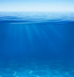 Sea or ocean water surface and underwater split by waterline