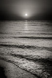 Sea Ocean Water Waves And Sun At Sunset Background Stock Photos