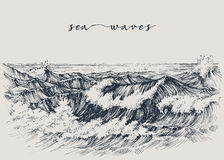 Sea or ocean waves drawing Royalty Free Stock Photography