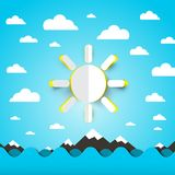 Sea, Ocean Waves with Paper Sun on Blue Sky with Clouds. Sea, Ocean Waves with Paper Cut Sun on Blue Sky with Clouds Stock Illustration