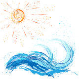 Sea and ocean waves, sun,  paint blot, splashes, drops Royalty Free Stock Image