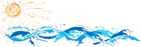 Sea and ocean waves, sun, paint blot, splashes, drops. For design vector illustration