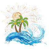 Sea and ocean waves, sun,  palms. For design Stock Photo