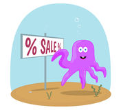 Sea Octopus standing in ocean and showing on sign Stock Images