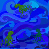 Sea and octopus Royalty Free Stock Images