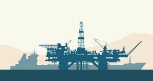 Sea oil drilling rig and tanker. Sea offshore oil drilling rig and tanker silhouettes. Detail vector illustration Stock Photo