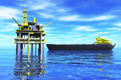 Sea Oil Platrfom and Tanker 3D render 1 Royalty Free Stock Images