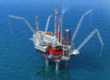 Sea Oil Rig Drilling Structure. 3D image vector illustration
