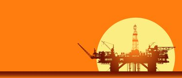 Free Sea Oil Rig. Offshore Drilling Platform On Sunset Royalty Free Stock Photos - 160671048
