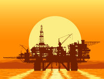 Sea oil rig. Offshore drilling platform. Stock Photos