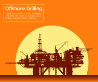 Sea oil rig. Offshore drilling platform. Royalty Free Stock Photography