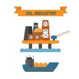 Sea oil rig offshore platform technology flat vector illustration. Royalty Free Stock Photos