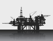 Sea oil rig. Oil platform in the deep sea. Royalty Free Stock Image