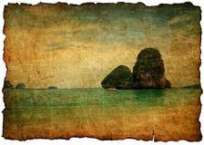 Sea on old postcard. Retro style Royalty Free Stock Photo