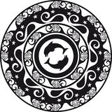 Circular ornament, delf and shell black and white Stock Image