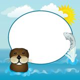 Sea Otter and Fish. A happy otter and jumping fish with a sunny water frame Royalty Free Stock Photo