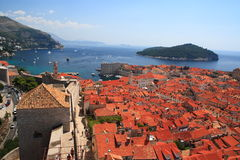 The sea over the Dubrovnik roof. Dubrovnik seen from the fortifications wall Royalty Free Stock Images