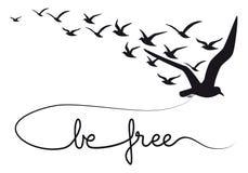 Sea pájaros de vuelo del texto libre, vector ilustración del vector