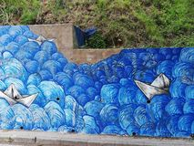 Sea painted by street artist can be as beautiful as real one stock images