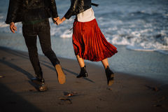 By the sea pair of runs Stock Photography