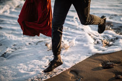 By the sea pair of runs Stock Images