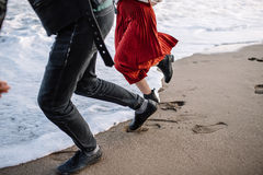 By the sea pair of runs Royalty Free Stock Photography