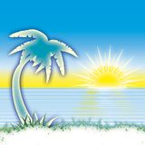 Sea palm and sun Royalty Free Stock Image