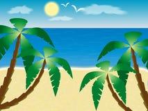 Sea. Palm trees on a sandy beach against the sea vector illustration