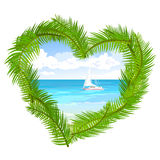 Sea, palm trees in the shape of heart Stock Photo