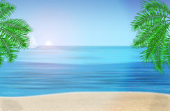 The sea, palm trees and tropical beach under blue Royalty Free Stock Photos