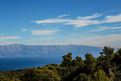 Sea panorama with blue mountains Royalty Free Stock Photos