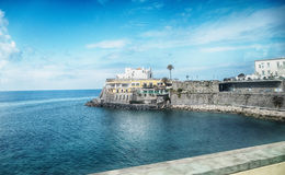 Sea panorama with Church of Soccorso at Ischia island Stock Image