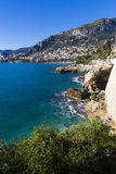Sea panorama coast walk from Roquebrune to Monaco Stock Photography