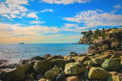 Sea panorama with rocks, illustration sketch style. Stock Image