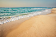 Sea panorama. Soft wave of the sea on the sandy beach royalty free stock photography