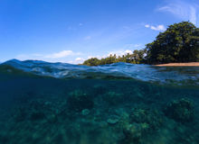 Sea panorama split photo. Undersea view of coral. Tropical island beach. Double landscape with sea and sky. Sea panorama split photo. Undersea view of coral Stock Image