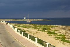 Sea panorama before the storm in Malta. Seascape and panorama of north coast in Malta Stock Photo