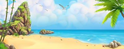 Free Sea Panorama. Tropical Beach. Vector Background Stock Photo - 118086200