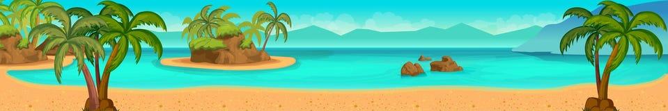 Sea panorama. Tropical beach. Vector background Royalty Free Stock Photos