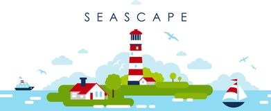 Sea Panoramic Landscape Background With Lighthouse In Flat Style Royalty Free Stock Photography