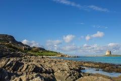 Sea paradise. Beuatifully looking beach La pelosa in sardegna stock photos
