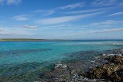 Sea paradise. Beuatifully looking beach La pelosa in sardegna stock image