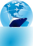 Sea passage and air travel Stock Photos